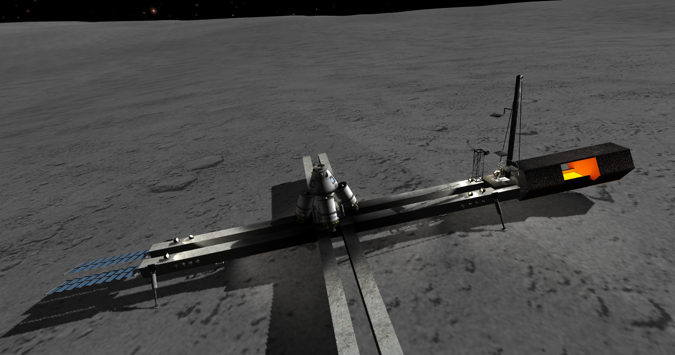 EPL launchpad, rocket workshop and smelter on the surface of the Mun