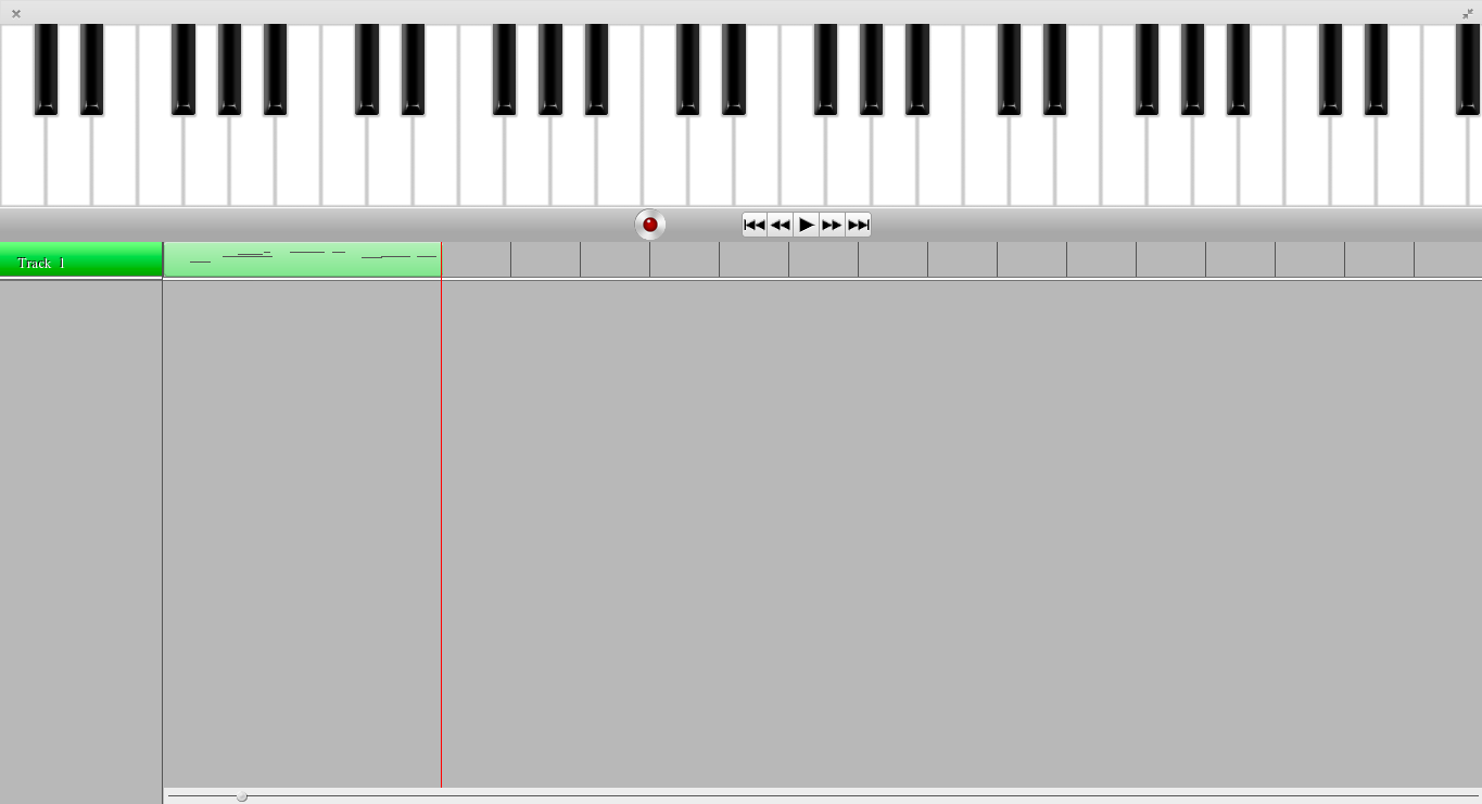 Screenshot showing piano keys and one track with recorded MIDI content