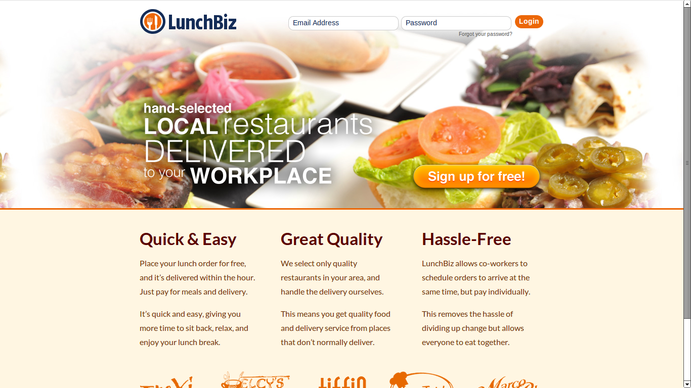 LunchBiz home page