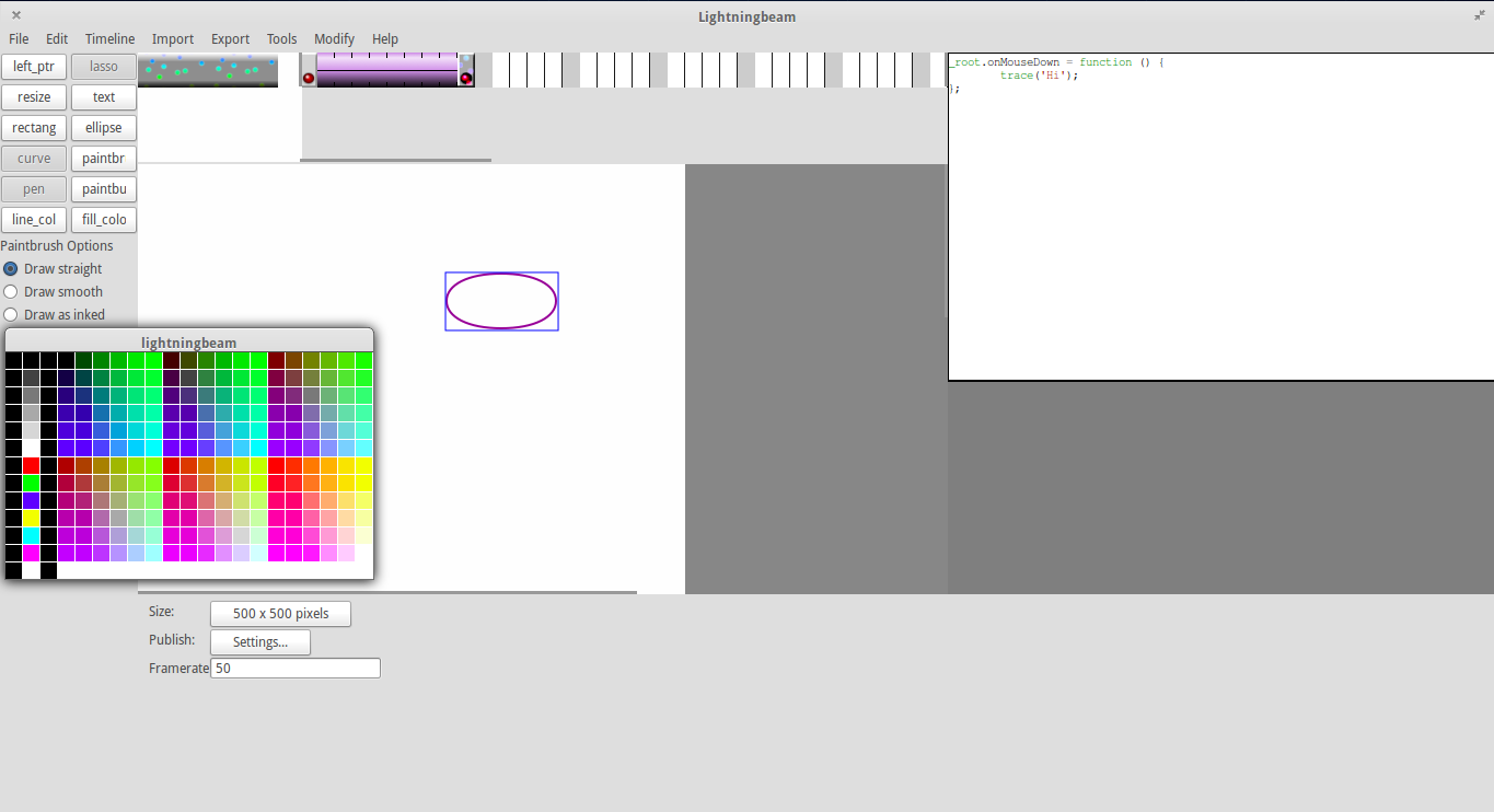 Screenshot showing stage, ActionScript window, timeline and color selection menu